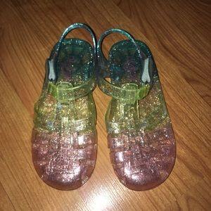 Rainbow Glitter Jelly Shoes
